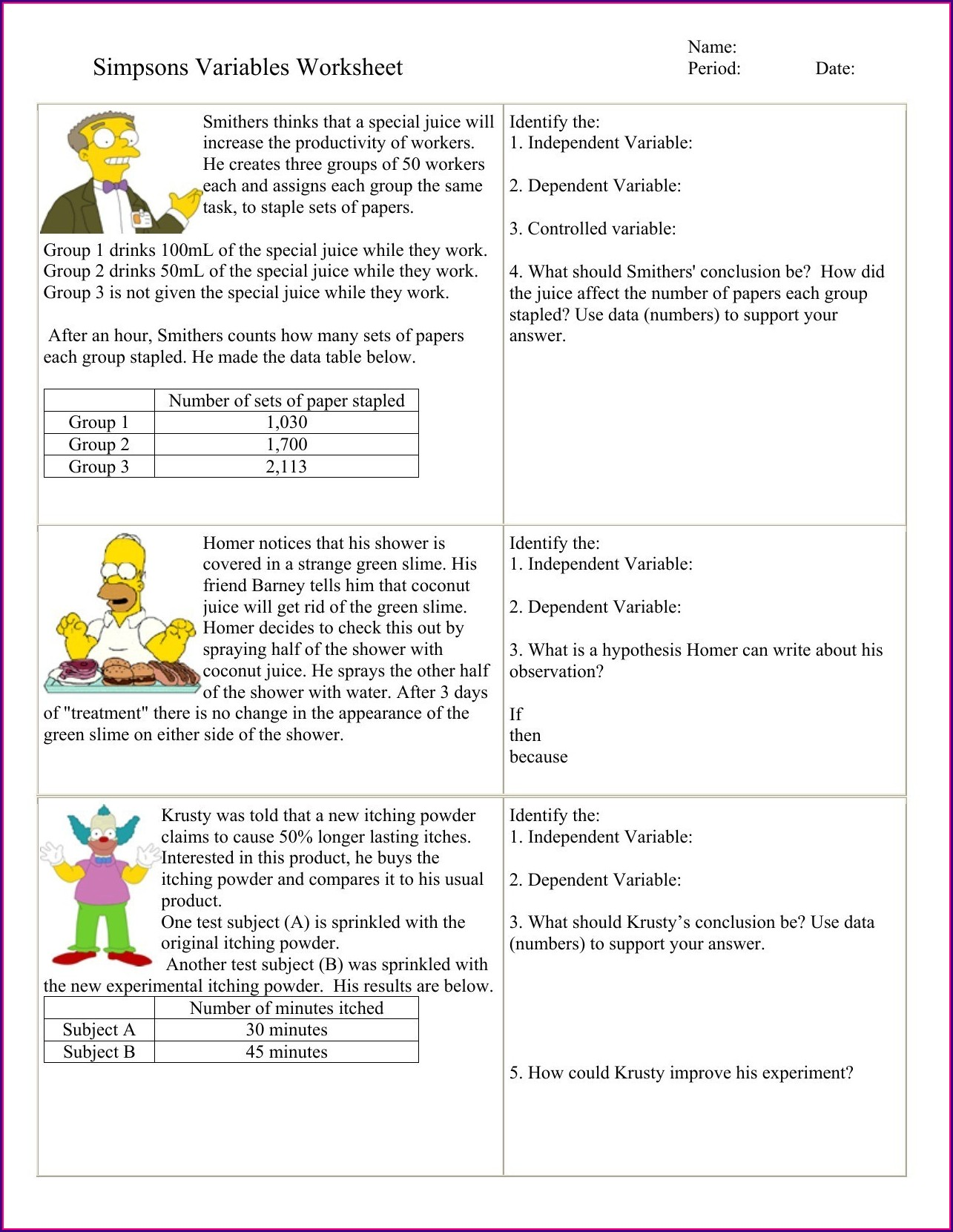 Simpsons Scientific Method Worksheet Key