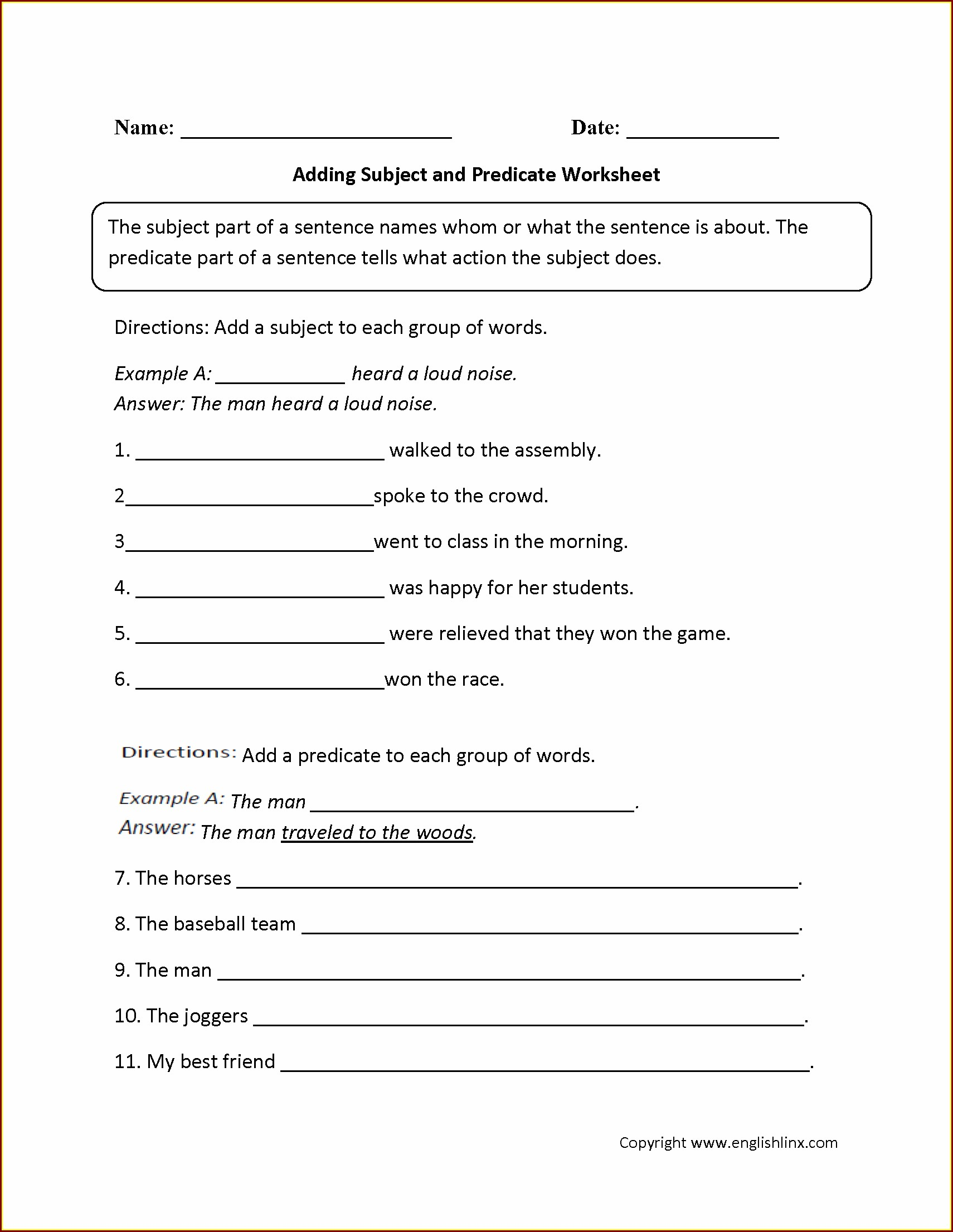 Sixth Grade Grade 6 English Grammar Worksheets