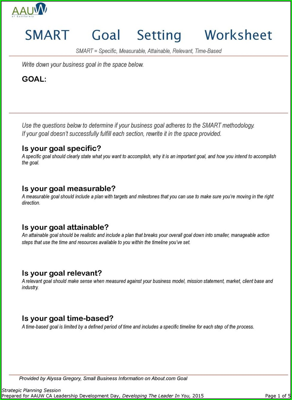 Smart Goal Setting Worksheet Pdf