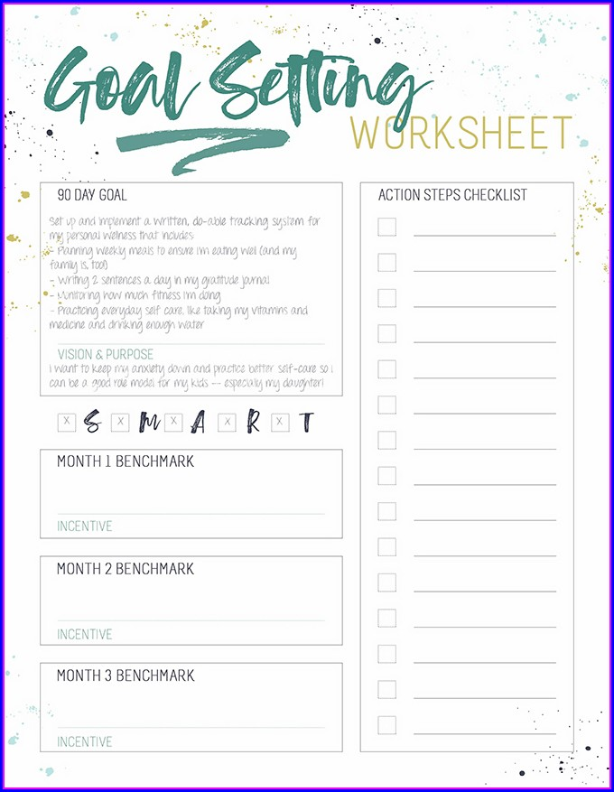 Smart Goals Worksheet For Exercise