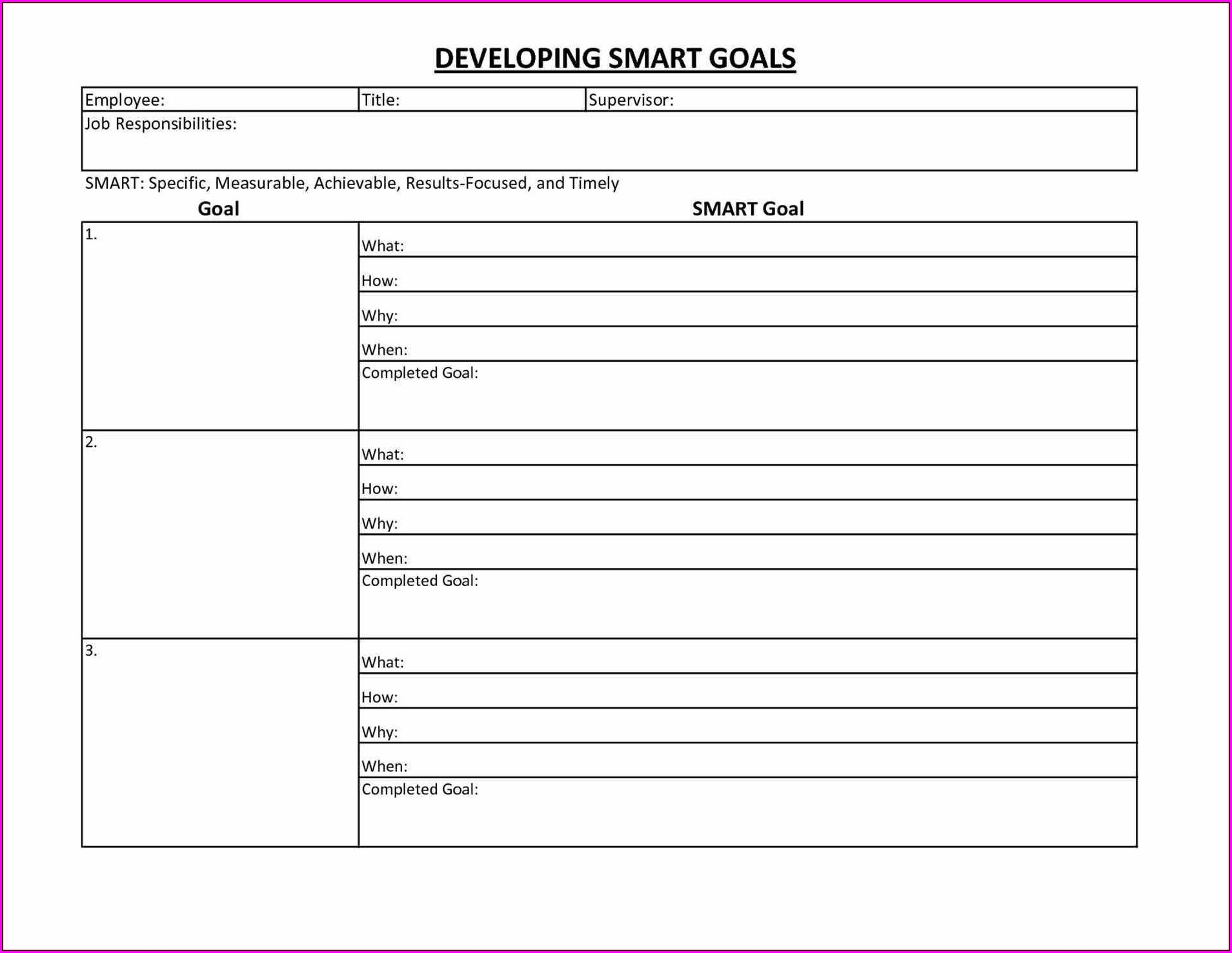 Smart Goals Worksheet Template