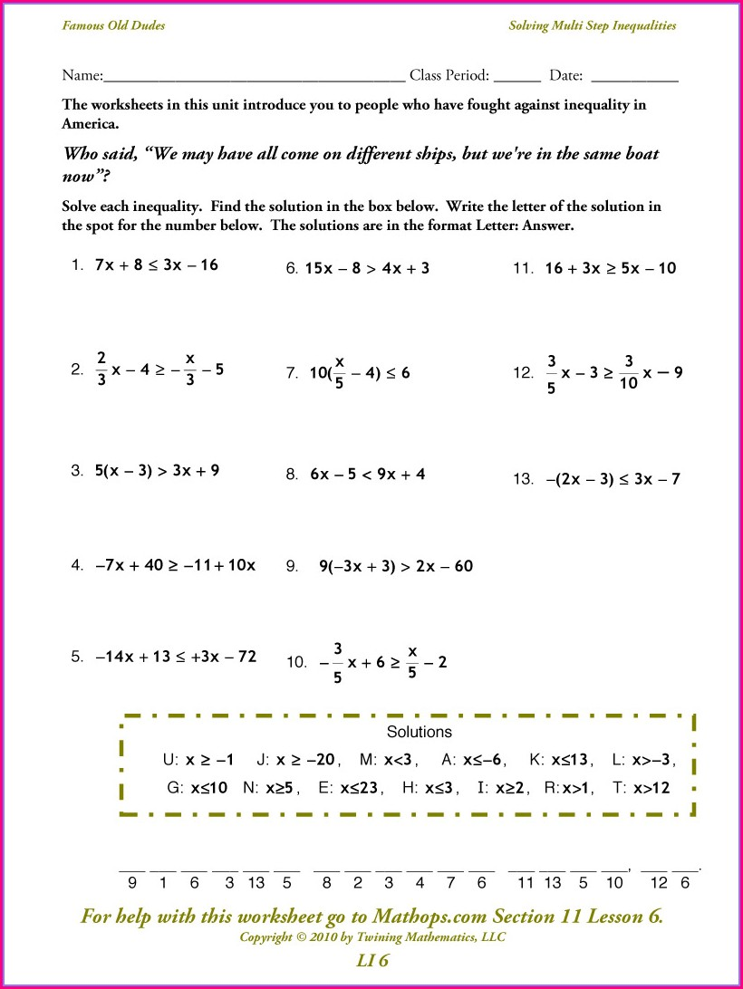 Solving And Graphing One Step Inequalities Worksheet