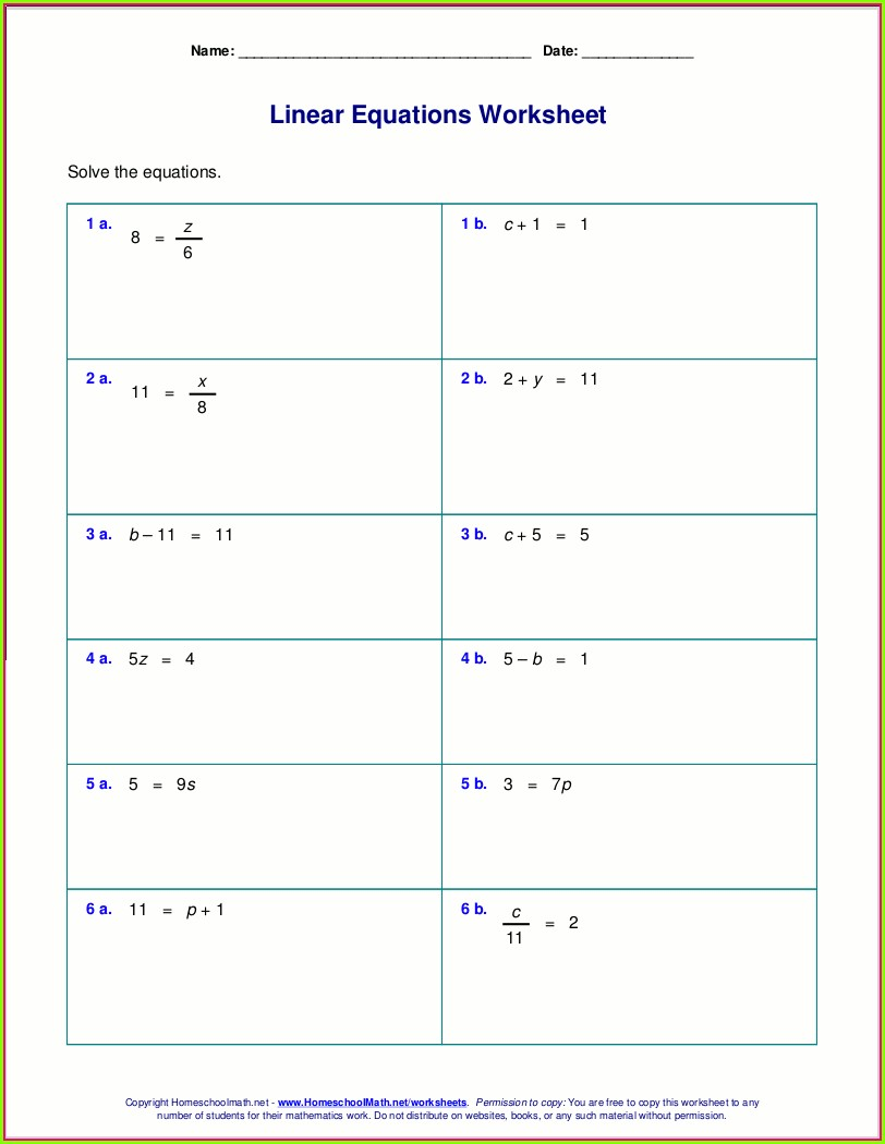 Solving Equations With Rational Numbers Worksheet Answers