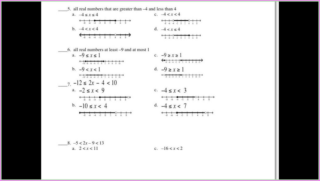 Solving Inequalities Worksheet Answers