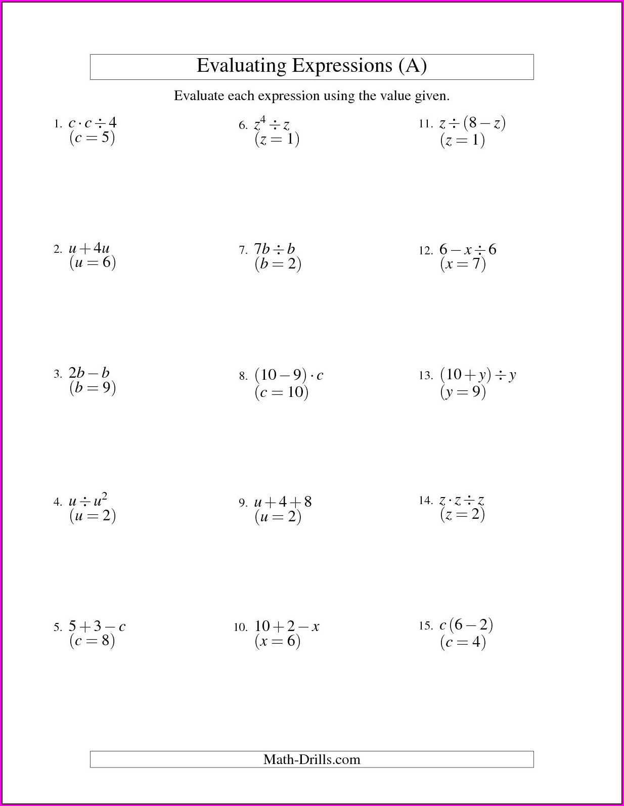 Solving One Step Equations Word Problems Worksheet