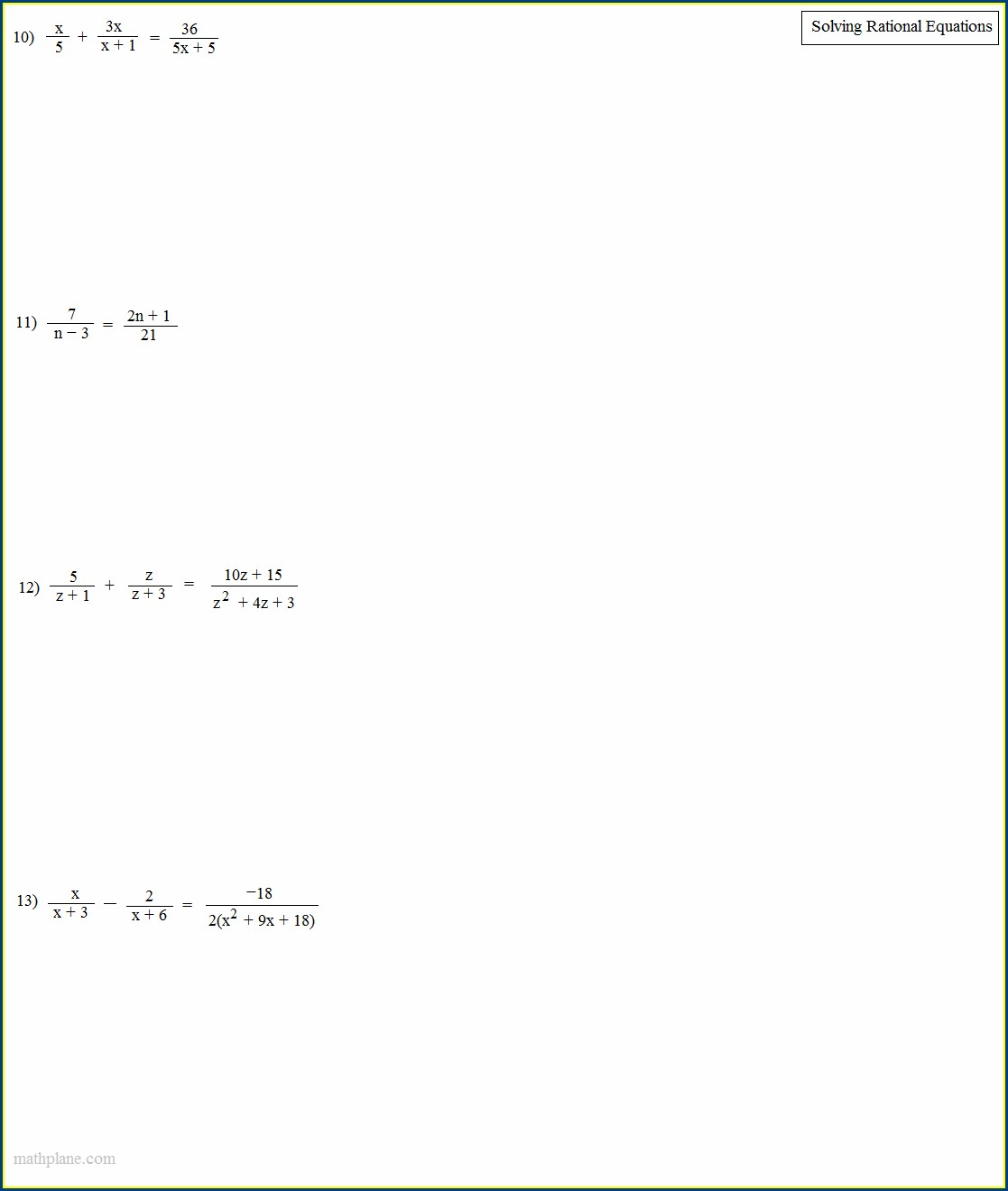 Solving Rational Equations Word Problems Worksheet