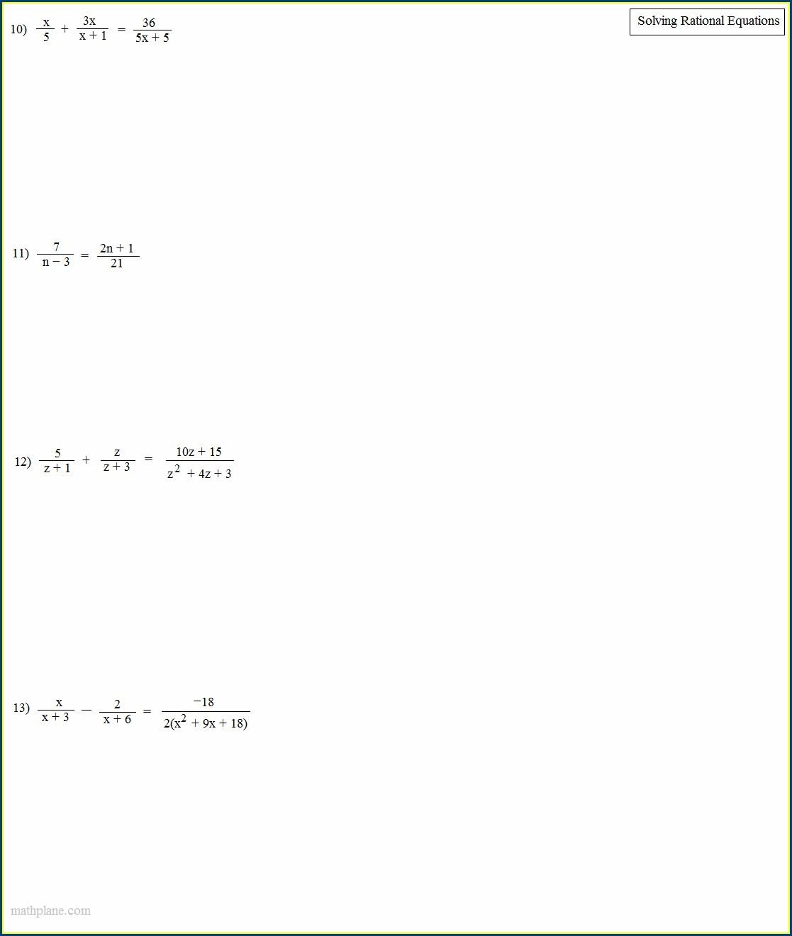 Solving Rational Equations Word Problems Worksheet