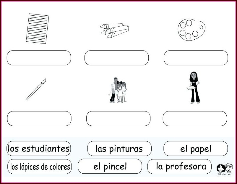 Spanish Classroom Items Worksheet