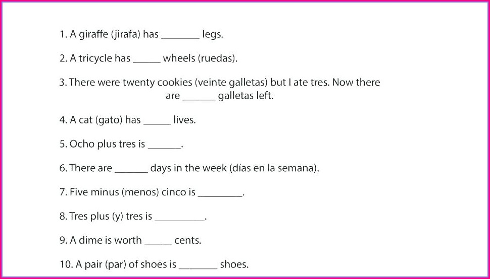 Spanish Numbers Practice Worksheet Pdf
