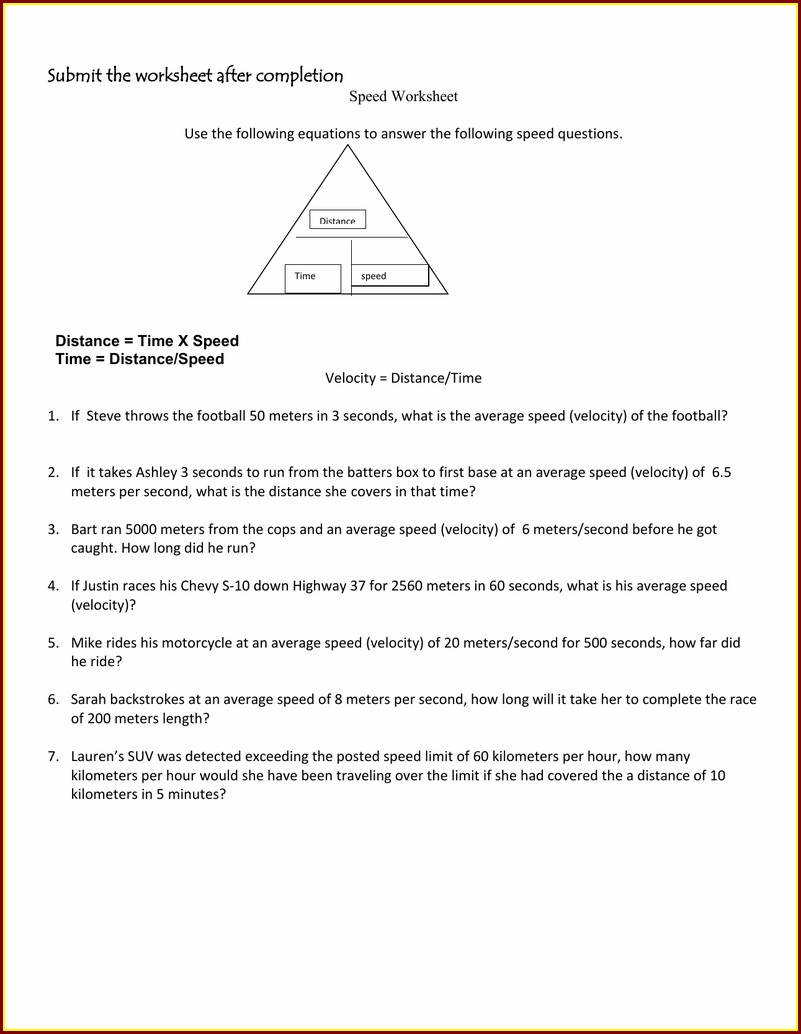 Speed Time And Distance Worksheet Answer Key