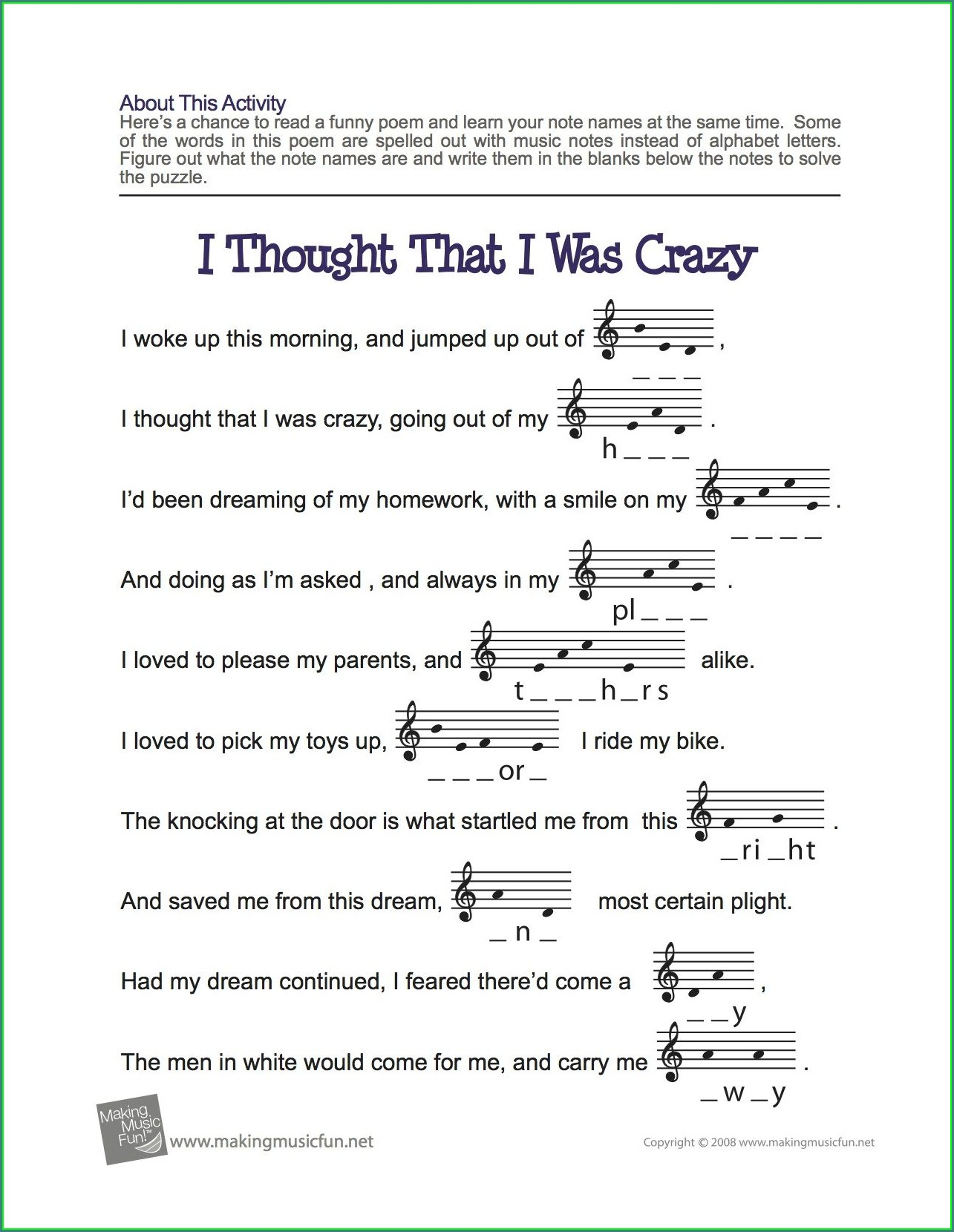Spelling Words With Music Notes Worksheet