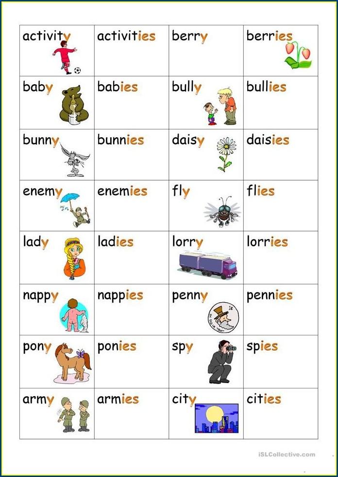 Spelling Worksheets Words Ending In Y