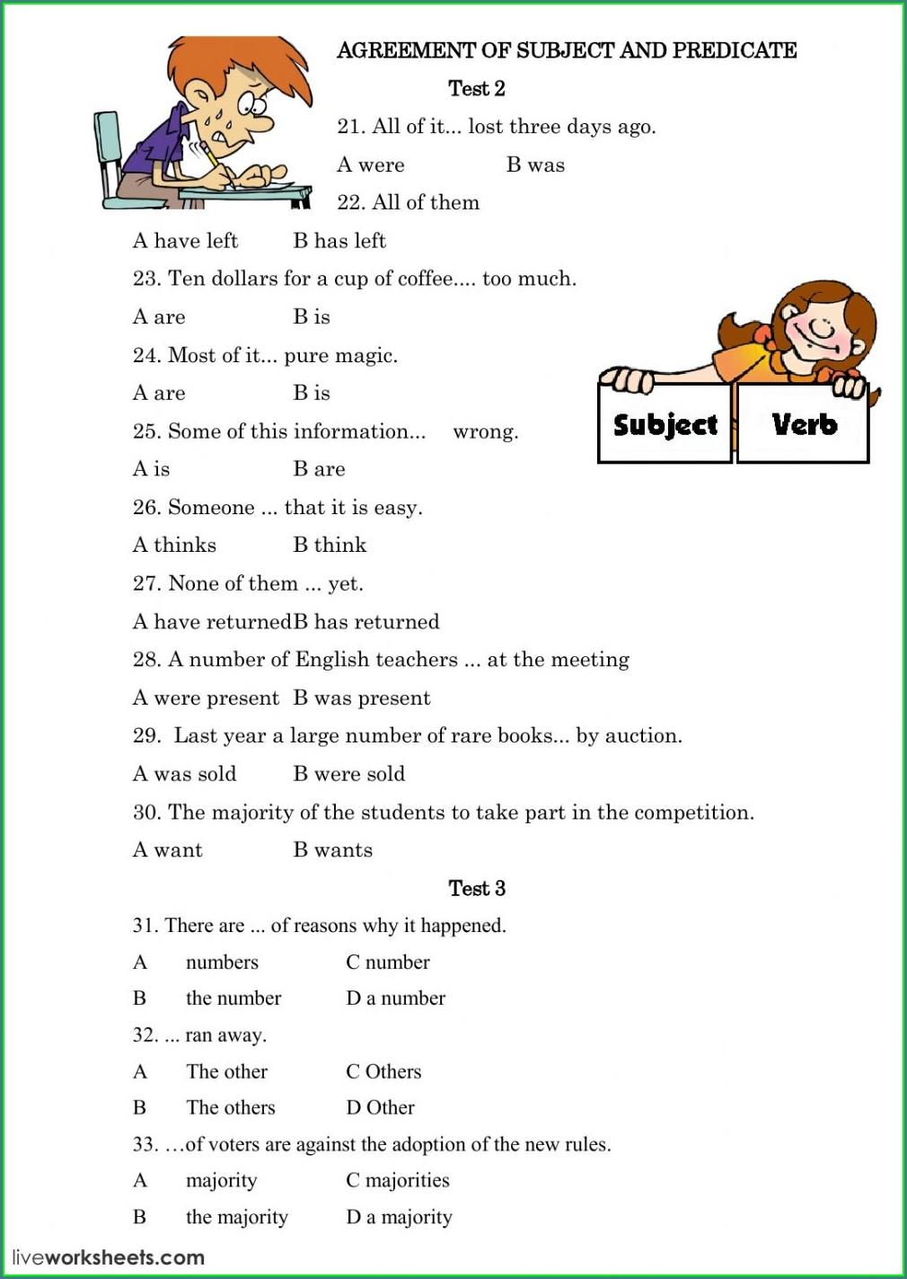 Subject Verb Agreement Beginner Worksheet