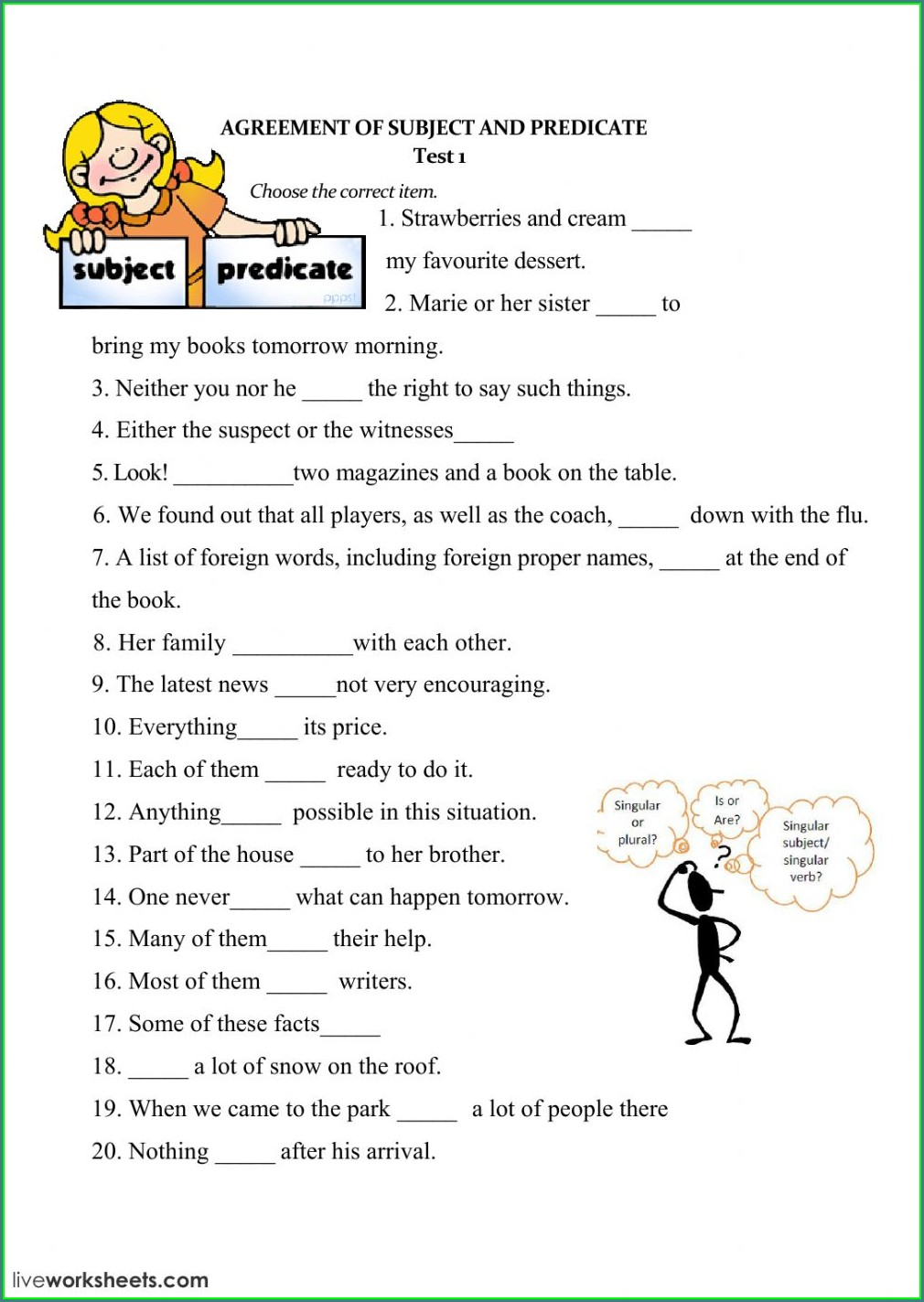 Subject Verb Agreement Do Does Worksheets