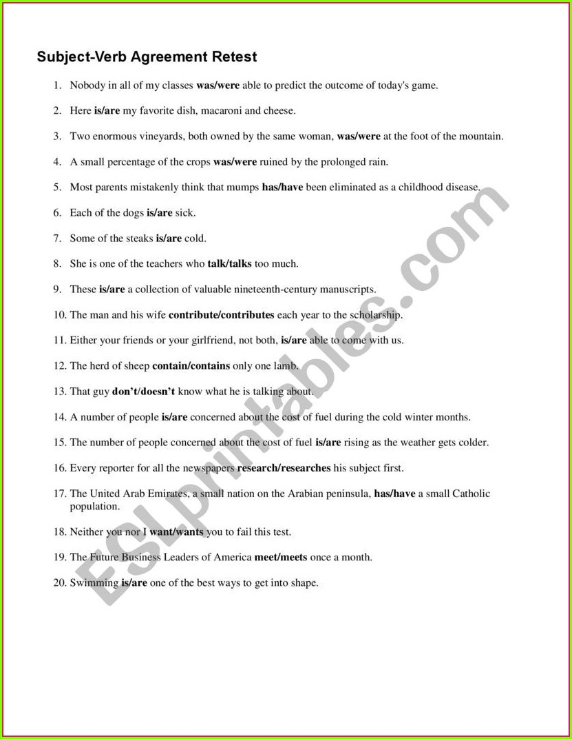 Subject Verb Agreement Exercises Advanced Level