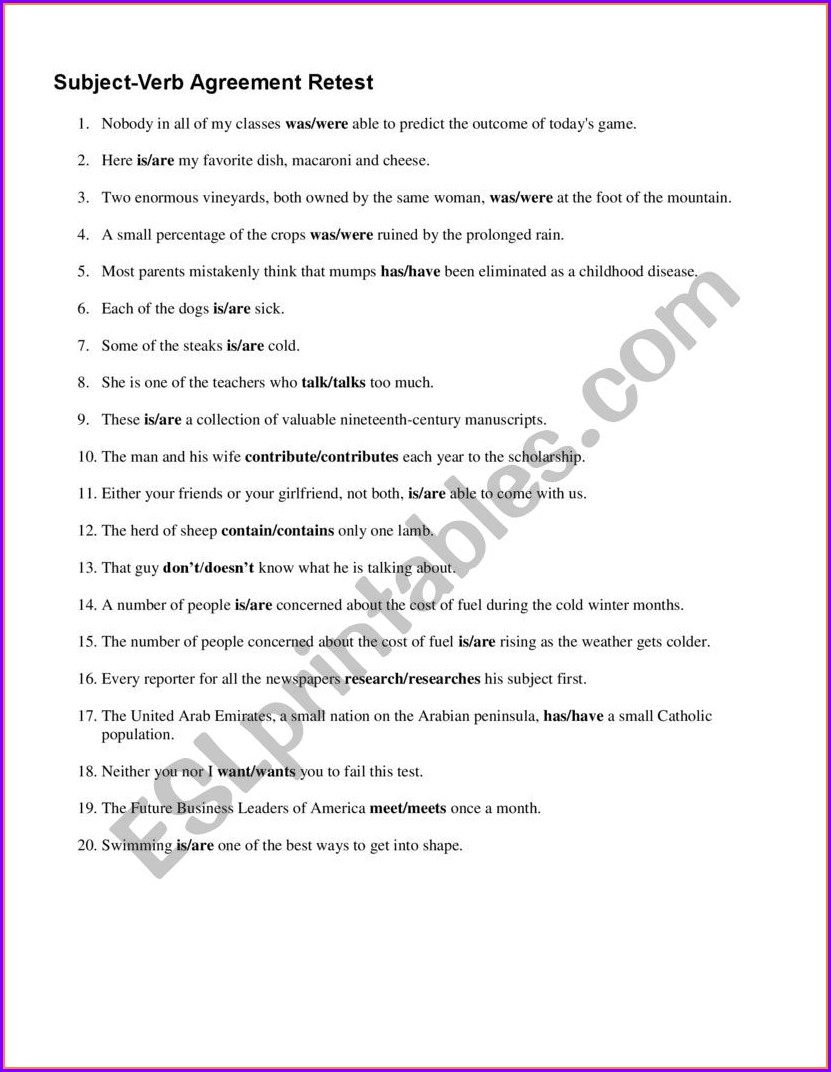Subject Verb Agreement Quiz With Answer Key