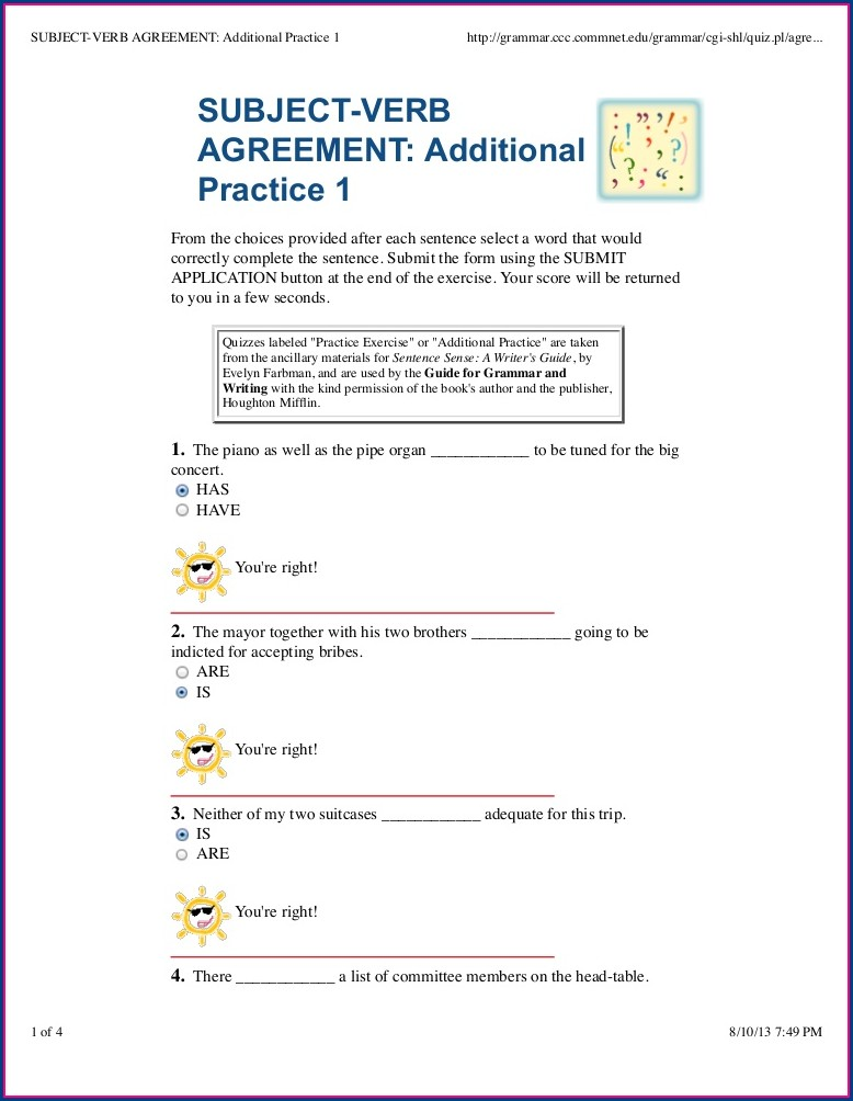 Subject Verb Agreement Quiz Word Document