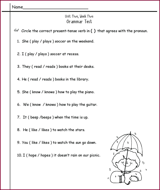 Subject Verb Agreement Worksheet 2nd Grade