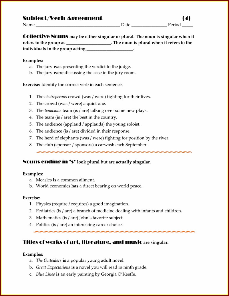 Subject Verb Agreement Worksheet 9th Grade