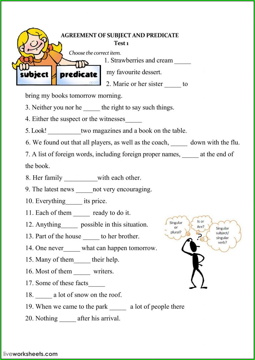 Subject Verb Agreement Worksheet Elementary