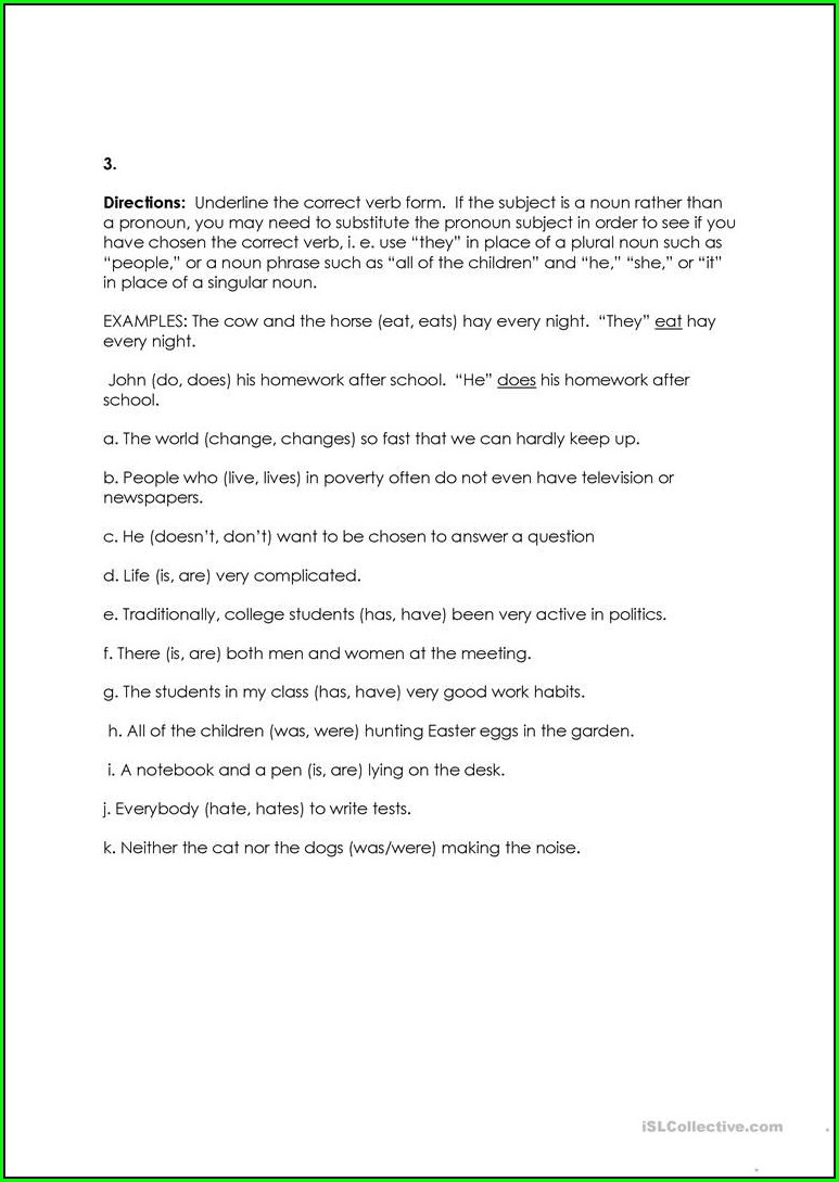 Subject Verb Agreement Worksheet Free