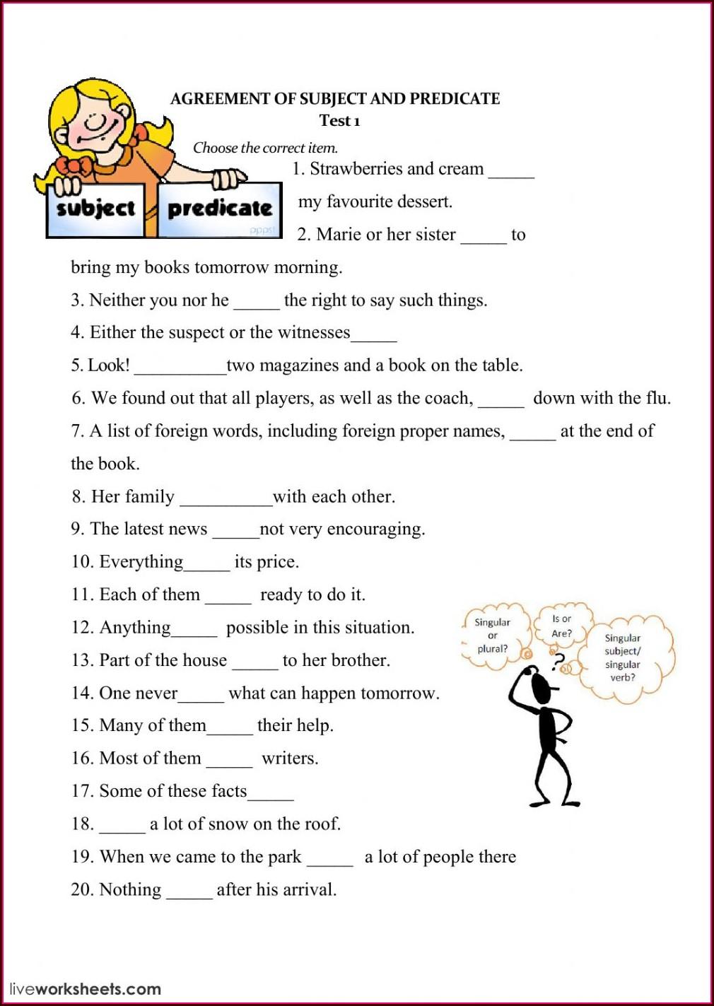 Subject Verb Agreement Worksheet Grade 7 Pdf
