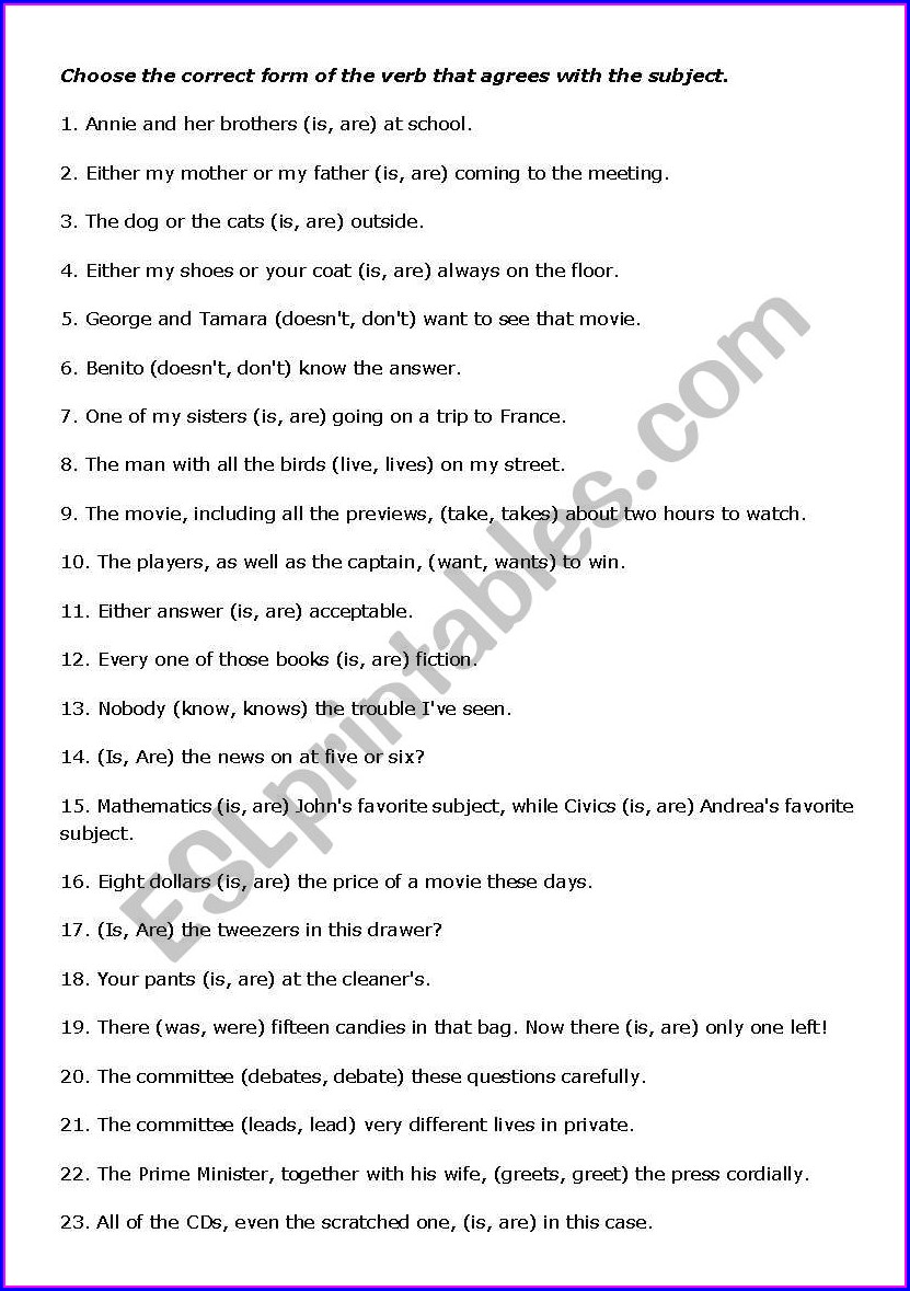 Subject Verb Agreement Worksheet Part 1 Answers