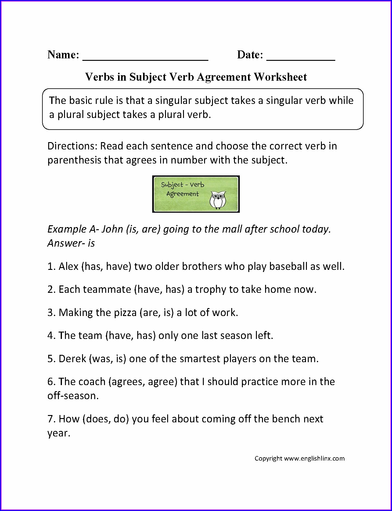 Subject Verb Agreement Worksheets Common Core