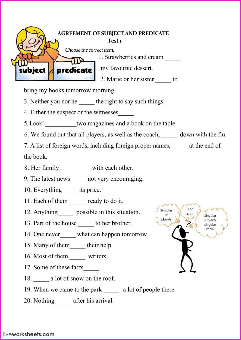 Subject Verb Agreement Worksheets For Class 5