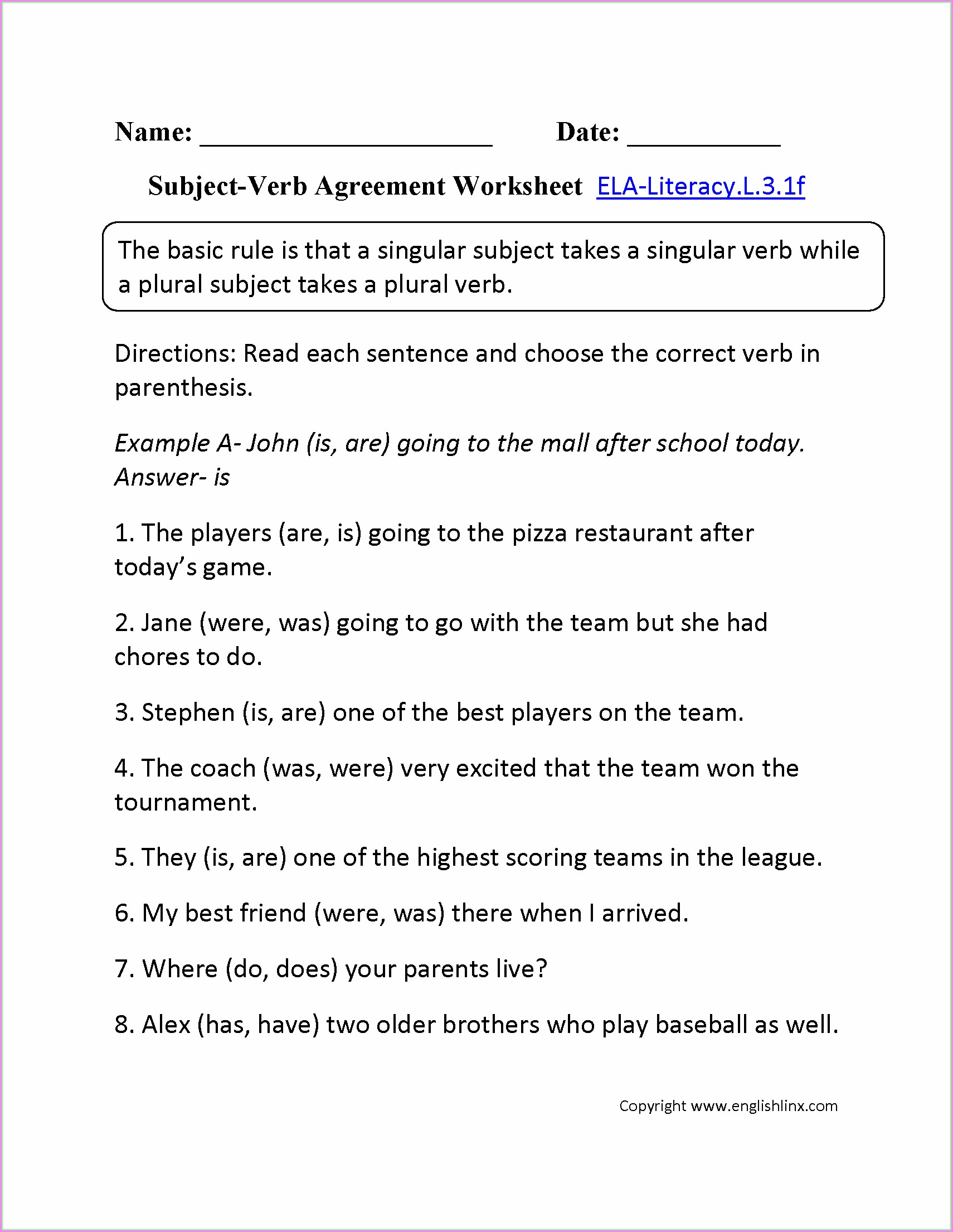 Subject Verb Agreement Worksheets Grade 6 Pdf