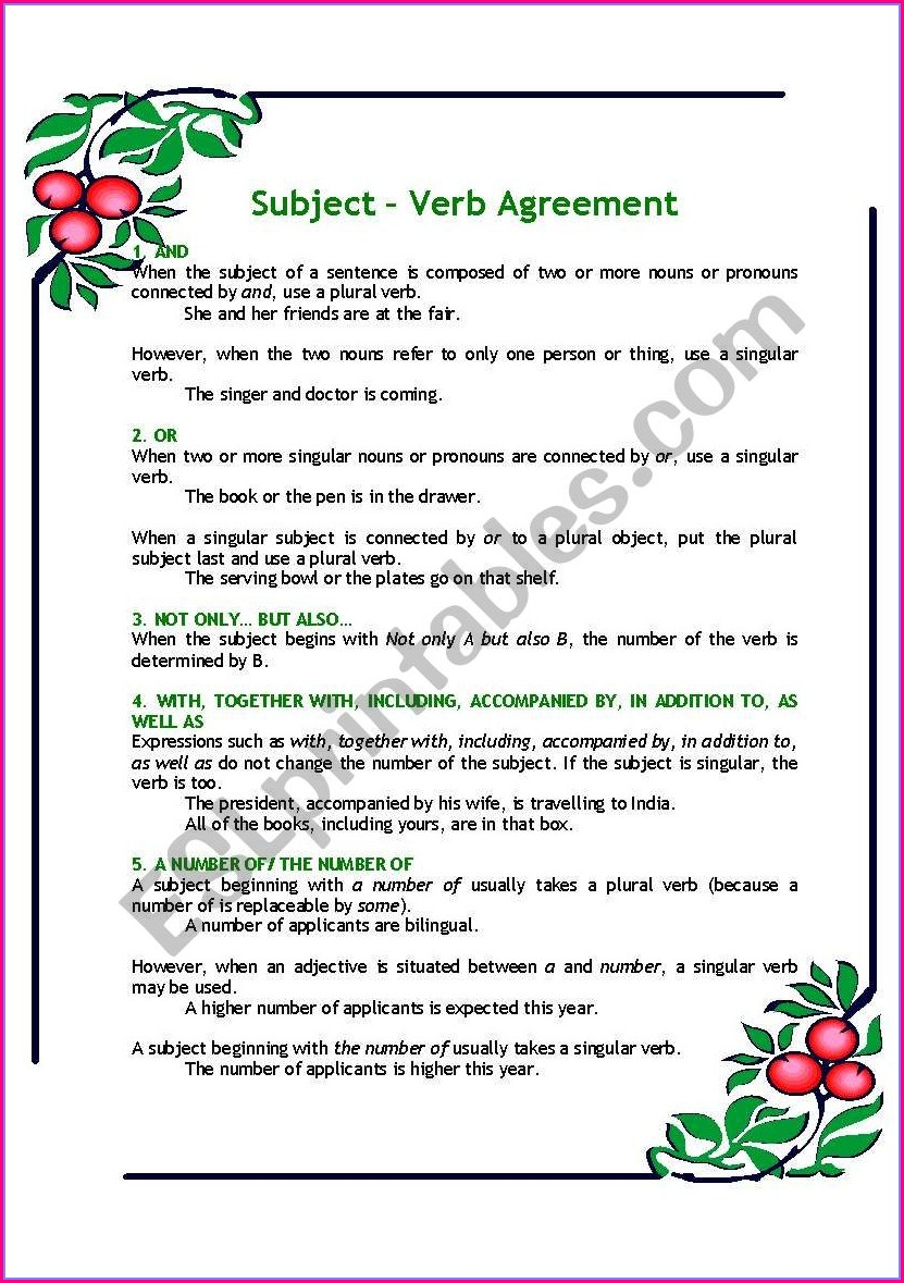 Subject Verb Agreement Worksheets Upper Intermediate