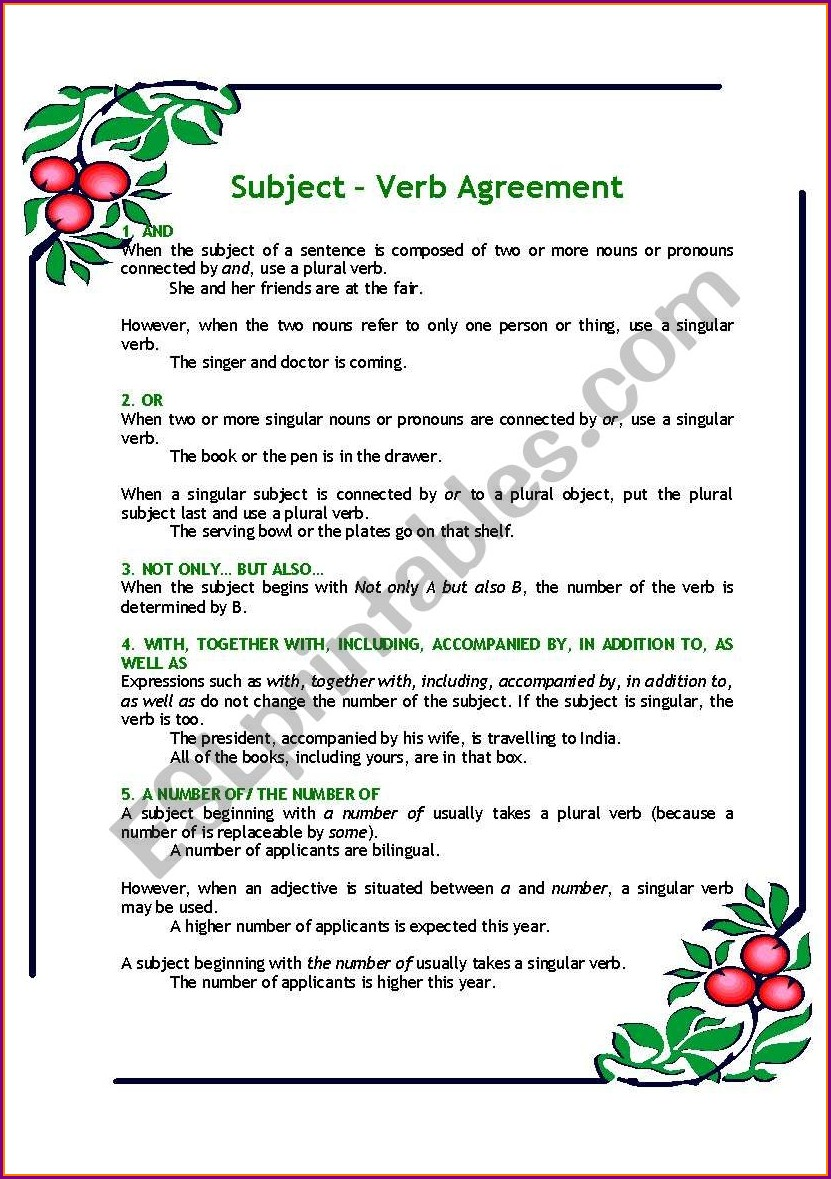 Subject Verb Agreement Worksheets With Rules