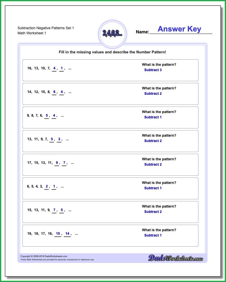 Subtracting Positive And Negative Numbers Free Worksheets