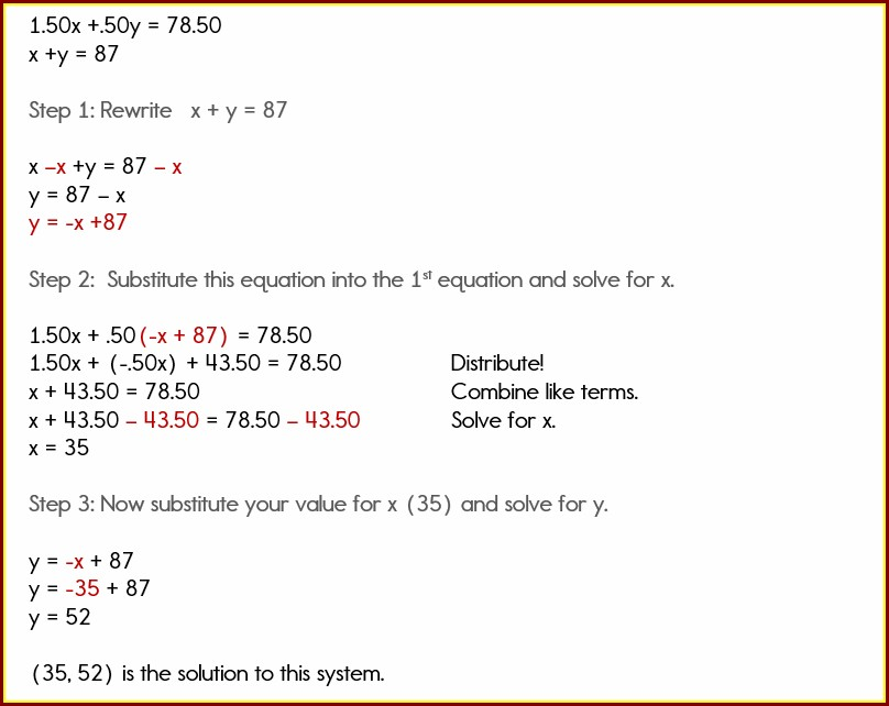 Systems Of Equations Word Problem Project
