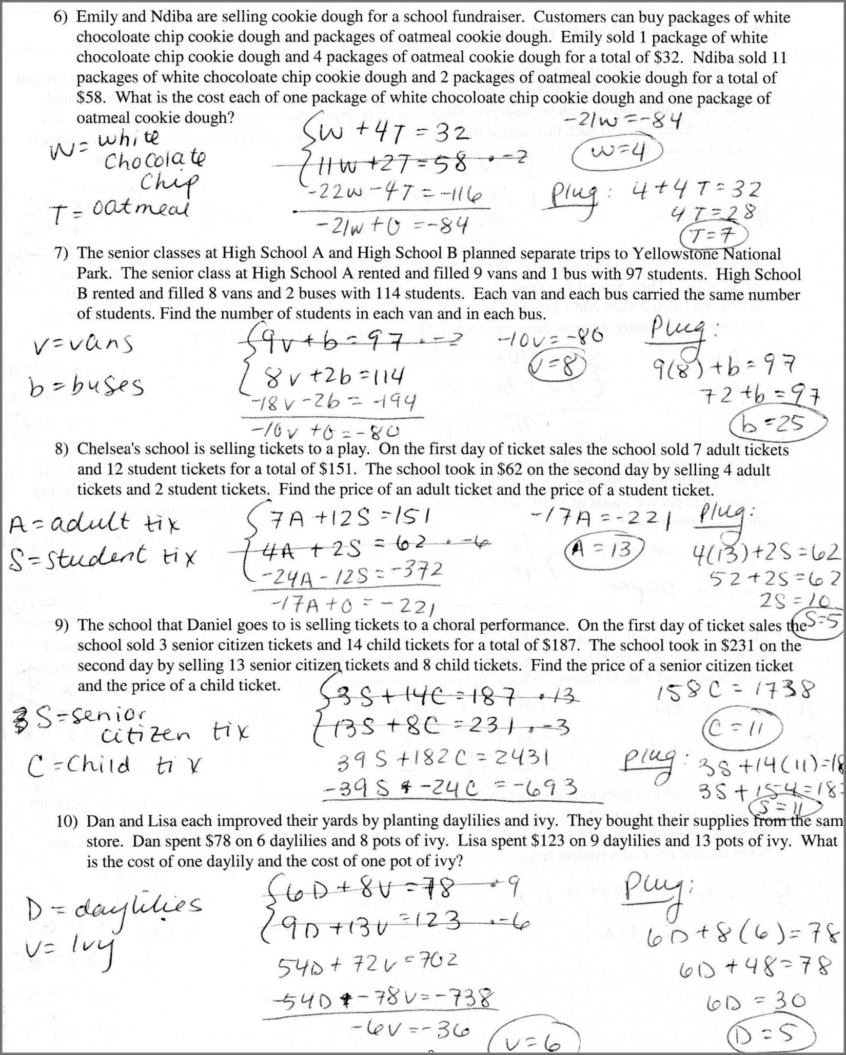 Systems Of Equations Word Problem Worksheet Answers