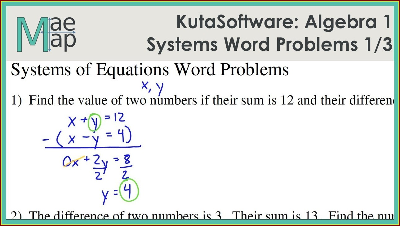 Systems Of Equations Word Problems Coins Answer Key