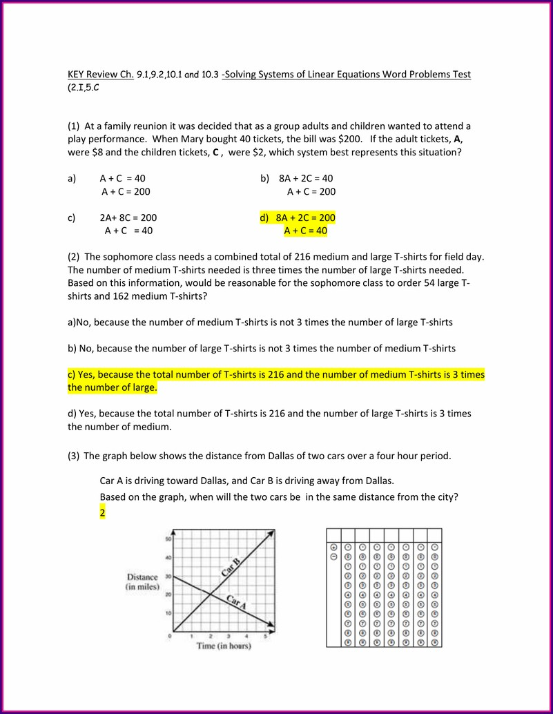 Systems Of Equations Word Problems Review