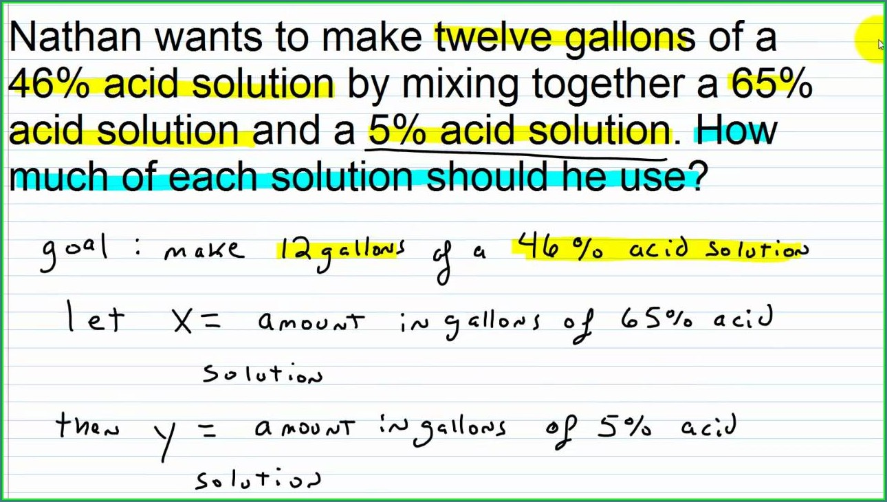 Systems Of Equations Word Problems With Percents