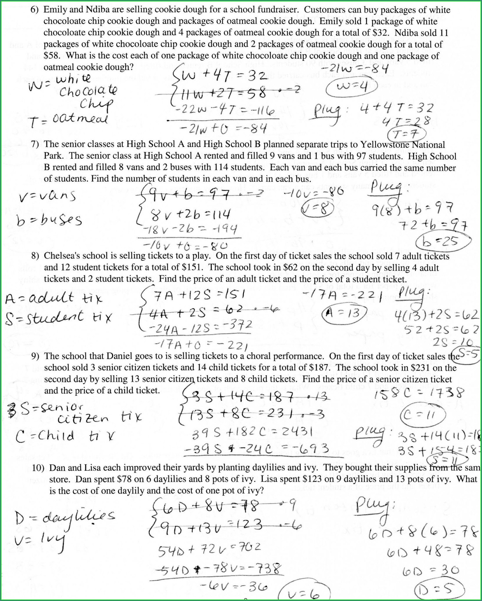 Systems Of Equations Word Problems Worksheet Answer Key