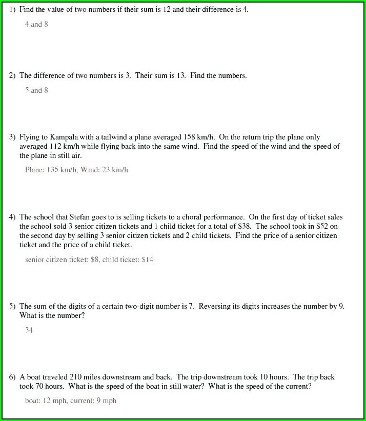 Systems Of Equations Word Problems Worksheet Pdf