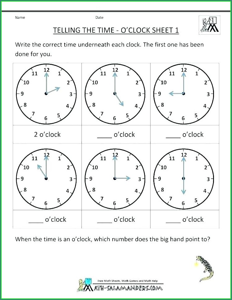 Teaching Time Clock Worksheets