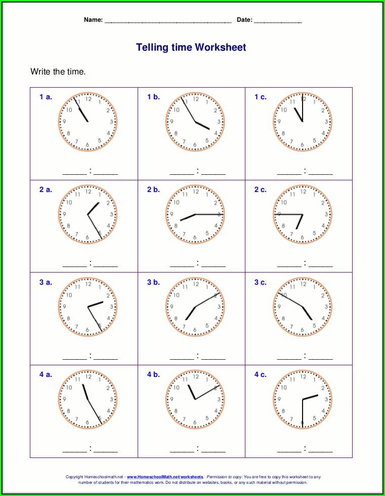 Teaching Time Worksheet Generator