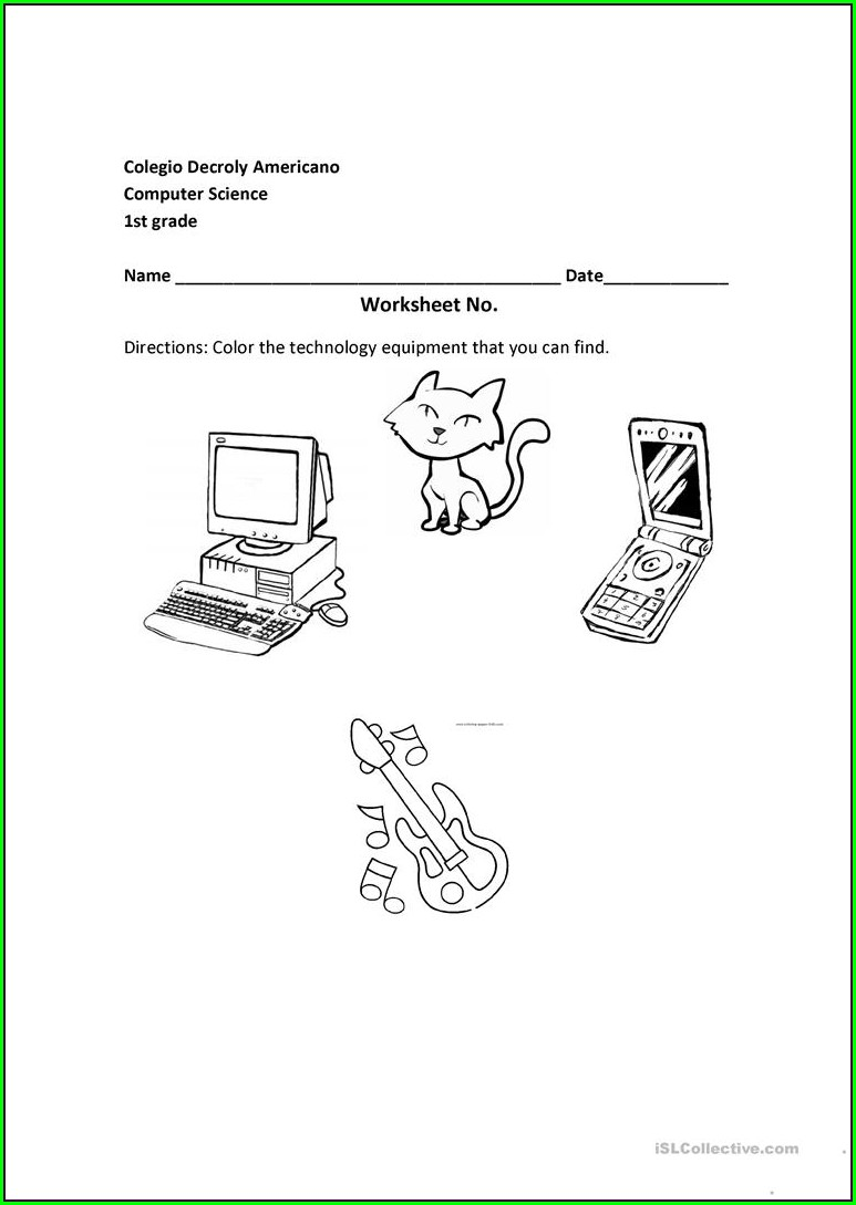 Technology Worksheet Second Grade