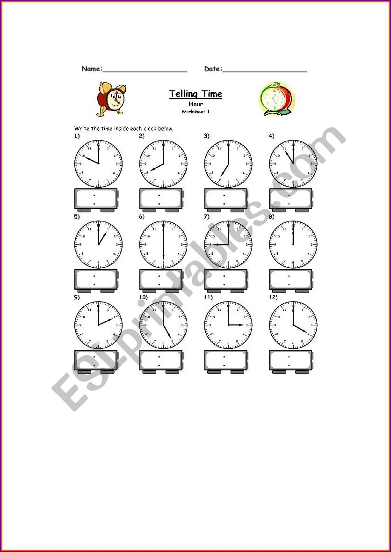 Telling The Time O'clock Worksheet