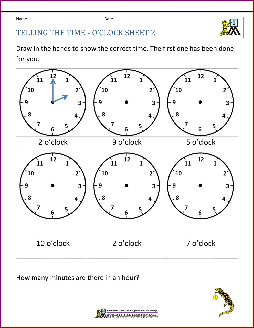 Telling The Time Worksheets Download