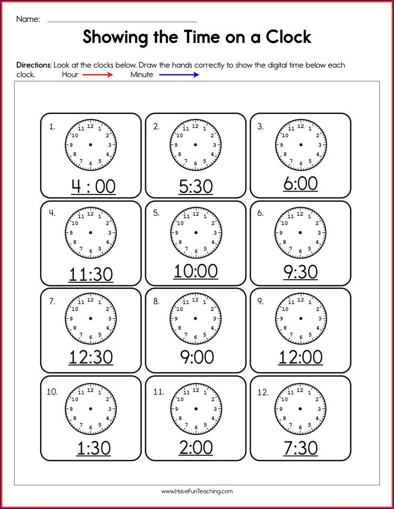 Telling Time Challenge Worksheets