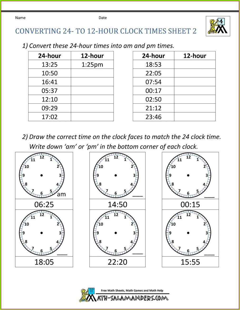 Telling Time Conversion Worksheet