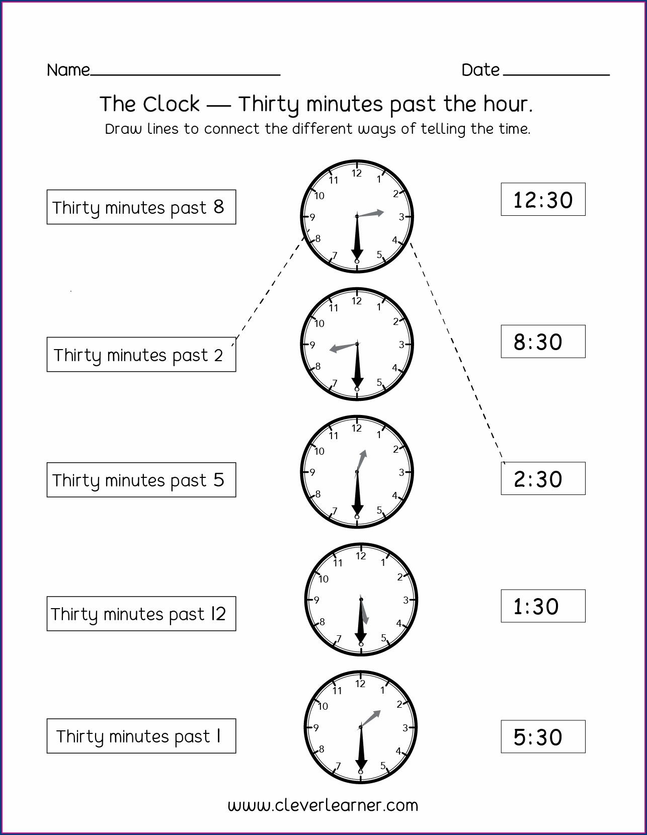 Telling Time Half Past The Hour Worksheets