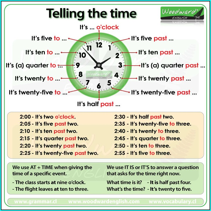 Telling Time In English Worksheet