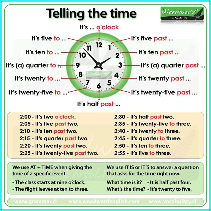 Telling Time In English Worksheet